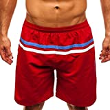 NUWFOR Men Casual Splice Stripe Beach Work Casual Men Short Trouser Shorts Pants(Red,US:XXL Waist35.4-43.3'')