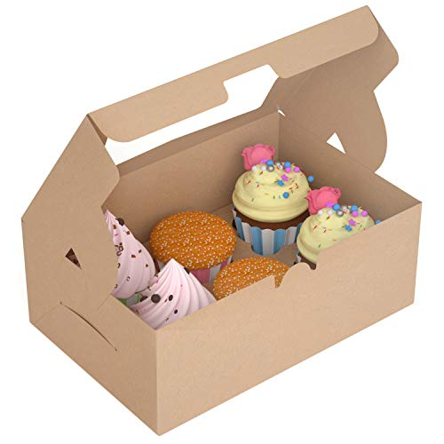 (X-Chef Cupcake Boxes, Food Grade Kraft Bakery Pastry Boxes with Inserts and Display Windows fit 6 Cupcakes , Pack of 15)