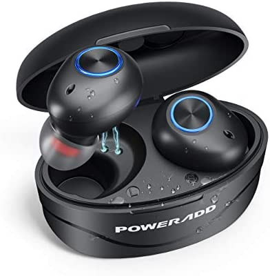 POWERADD Auricular Bluetooth True Wireless Bluetooth 5.0 Auriculares Caja de Carga Auriculares inalámbricos Bluetooth con Carga Rapida Resistente al Agua con Caja de Carga-Negro: Amazon.es: Electrónica