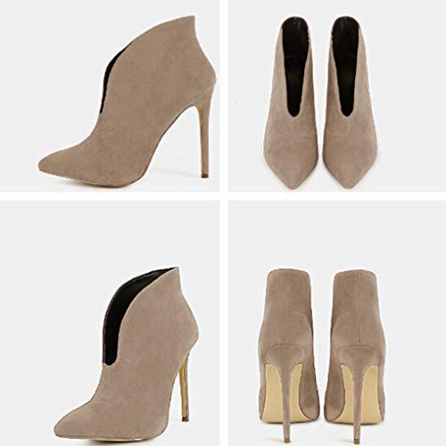 Minetom Autunno High Stivali Stivaletti Heels Spillo Tacchi Cachi Alti A Elegante CM Scamosciato Tacco Donna Moda 12 Ankle Boots Scarpe Casual rSqx5WrCwE