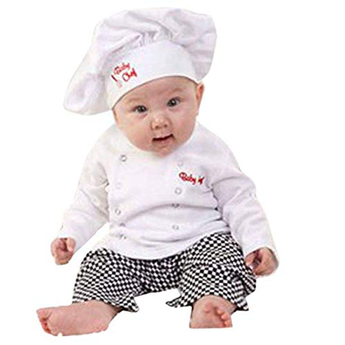iEFiEL Baby Infant Boys Girls Cotton Cook Chef Costume Baker Cooking Dress up Jackets with Pants Hat Outfits Set White 6-12 Months