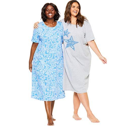 Dreams & Co. Women's Plus Size 2-Pack Long Sleepshirts - Cornflower Blue Star, 3X/4X