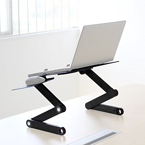 Easy Adjustable Reading Portable Desk Helper Multifunction Design W/x2 Mini Air-Flow Cooling Lightweight working at the Bed Suit for TV dinner tray, sound equipment table, writing desk TBL-04