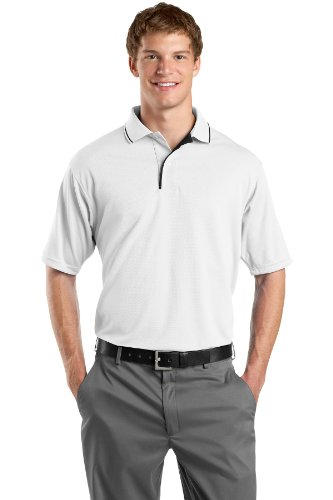S/s Tipped Collar - Sport-Tek Men's Dri Mesh Polo with Tipped Collar and Piping S White/Black