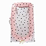 Abreeze Baby Lounger,Infant Lounger,Newborn Lounger: Breathable,Hypoallergenic-Perfect for Co-Sleeping,Cotton Portable Travel Infant Bed,Crib,Bassinet,or Polka Dot Baby Nest