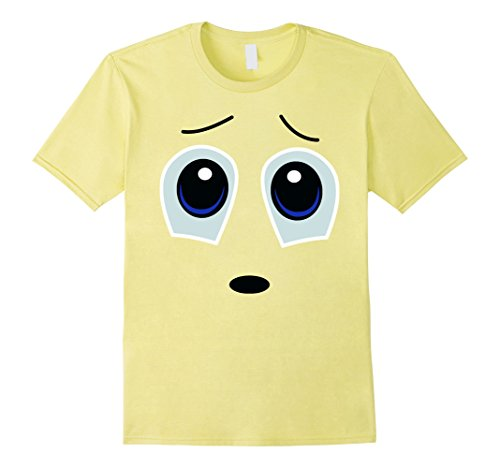 Mens Emoji Scared Ghost Shirt Yellow Face Funny Costume Gift Medium (Ghost Christmas Present Costume)