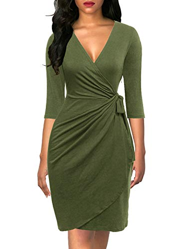 Berydress Women's Deep V-Neck Sexy Night Out Dress Sheath Knee-Length Faux Wrap Dress with Sleeves (L, 6083-Army Green)