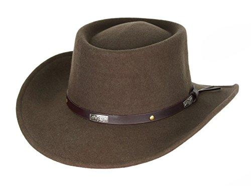 [Men's Wool Gambler Hat with Band Brown (Large (58 cm.))] (Wild Man Costumes)