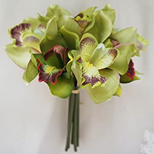 Lily Garden Mini 7 Stems Cymbidium Orchid Bundle Artificial Flowers (Green) 28