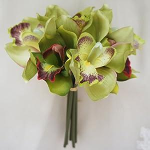 Lily Garden Mini 7 Stems Cymbidium Bouquet Artificial Flowers 1