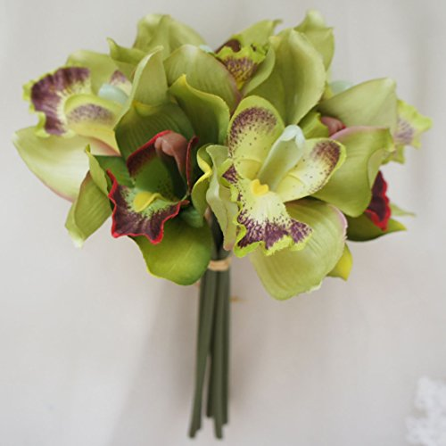 Lily Garden Mini 7 Stems Cymbidium Orchid Bundle Artificial Flowers (Green) (Green Cymbidium Silk Orchids)
