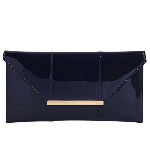 Faux Patent Leather Envelope Candy Clutch, - Leather Faux Purse Clutch