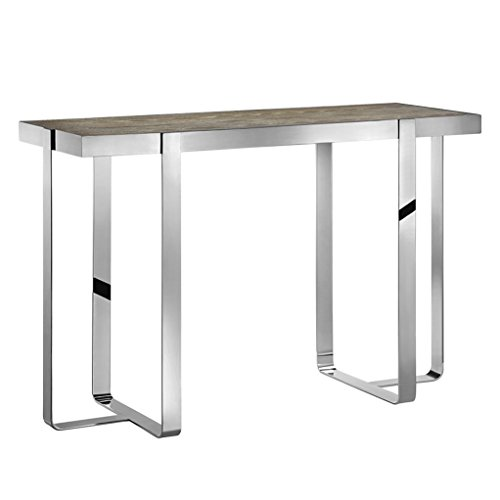 Pottery Barn Console (Mid Century Modern White Wash Gray Oak Console Sofa Hall Table with Chrome Metal Frame - Includes ModHaus Living Pen)