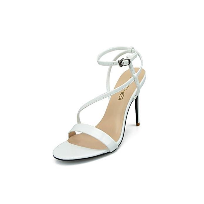 Hn Shoes Donna Stiletto Alto Tacchi Sandali Caviglia Cinghietti Sbirciare Dito Del Piede Festa Pompe Ballo Di Fine Anno Sera Grande Taglia 35-44