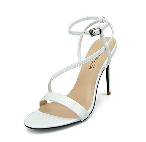 Mujer Estilete Alto Talones Sandalias Tobillo Strappy Mirar furtivamente Dedo del pie Fiesta Zapatillas Paseo Noche Grande Tamaño 35-44 blanco