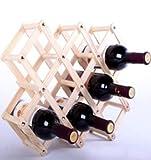 ANBANA  Wood Foldable Diamond-Shaped 10-Bottle Wine Rack