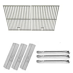 Repair Kit for Uniflame GBC983W-C, 3 Burner BBQ Gas Grill Includes 3 Stainless Burners, 3 Stainless Heat Plates and Stainless Cooking Grids