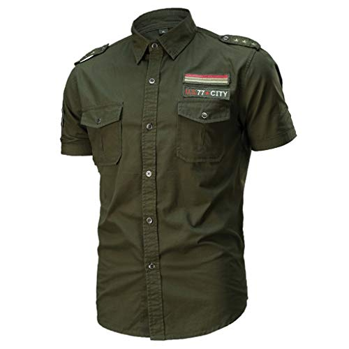 Allywit Military T-Shirt for Mens, Men's Slim Fit Button Shirt with Pocket Short Sleeve Big and Tall Army -
