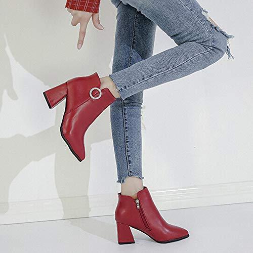 Femme Talons Éclair Les Épais Style Chaussures Yebiral Fond Hauts Rouge Bottillons Fermeture Pointu Unie Couleur Britannique aEwUqHO