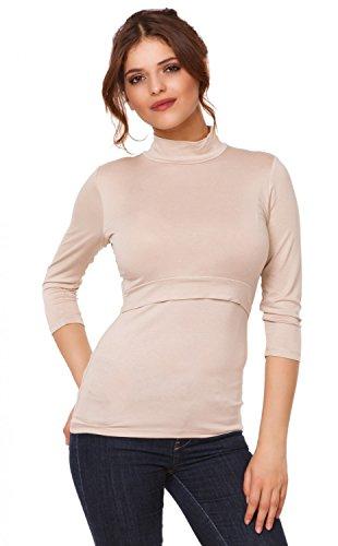 Happy Mama. Mujer top camiseta premamá y lactancia cuello alto doble capa. 987p Beige