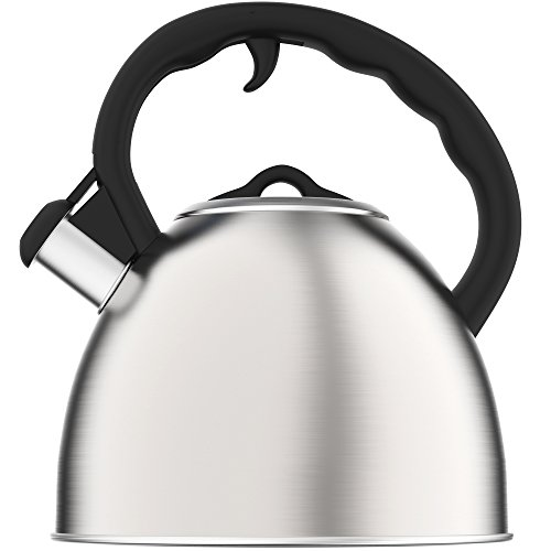 Vremi Whistling Tea Kettle - 2 Quart Stainless Steel Modern Dome Teapot for Kitchen Stove Top - Decorative 8 Cup Brushed Silver Tea Pot - Fast Boil Steam Whistle - Induction Gas or Electric Stovetop (Electric Teapot Personal compare prices)