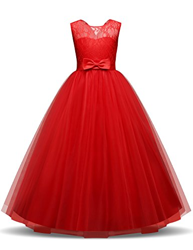 TTYAOVO Girls Pageant Ball Gowns Kids Chiffon Embroidered Wedding Party Dress Size 12-13 Years Red]()