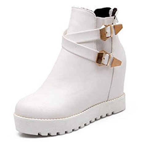 Otoño e invierno de moda bajo highHeel botas zapatos casuales cabeza redondo white