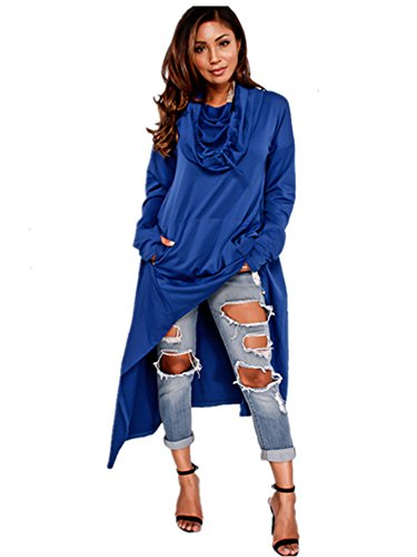 Xuan2Xuan3 Womens Kangaroo Pockets Loose Hoodies Sweatshirts Outerwear Coat Dress, Blue, XXXX-Large