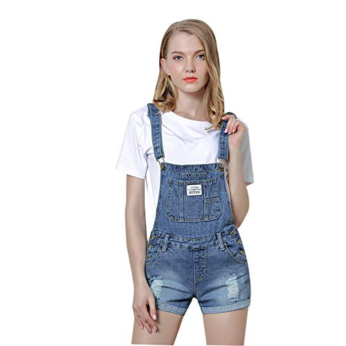 Women's Rolled Cuffs Ripped Jeans with Pockets Casual Denim Gradient Bib Overalls Dungaree Shorts for Teen Girl,Blue,S ()