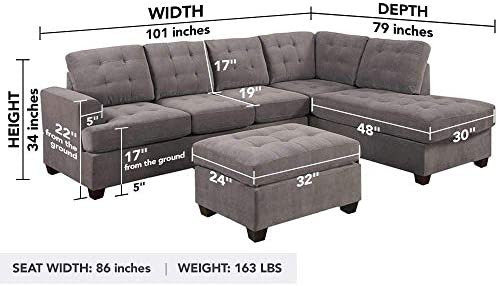 home, kitchen, furniture, living room furniture,  living room sets 4 image Divano Roma Furniture 3-Piece Reversible Chaise Sectional in USA
