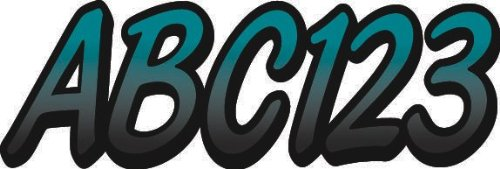 """Whipline Aqua/Black 3"""" Alpha-Numeric Registration Identification Numbers Stickers Decals for Boats & Personal Watercraft"""