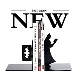 Batman DC Bookends,1 Pair,5 Inches,Heavy Steel,Black