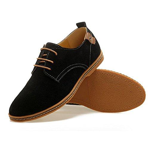 hombre ante para planos piel clásicos Negro Oxfords Zapatos de cordones Fangsto de con wWzxqaY8En