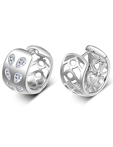 Inlaid Gold Plated Clasp (XZP Hollow Out Zirconia Inlaid Hoop Earrings White Gold Plated Round Earring For Women)