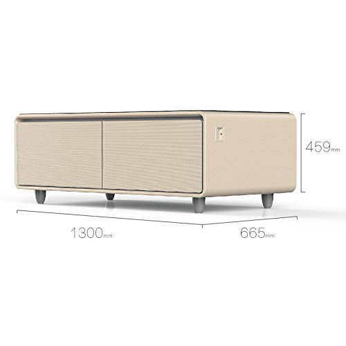 PRIMST Multifunction Refrigerator Coffee Table, 4.0 Bluetooth Speakers, Gold