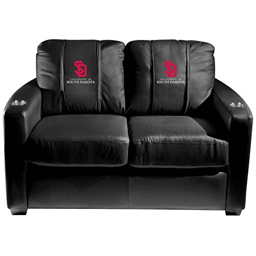 XZipit College Silver Loveseat with South Dakota Coyotes Logo Panel, Black