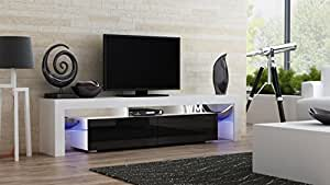 Concept Muebles TV Stand MILANO 200/Modern LED TV Cabinet/Living Room Furniture/Tv Cabinet fit for up to 90-inch TV screens/High Capacity Tv Console for Modern Living Room (White & Black)