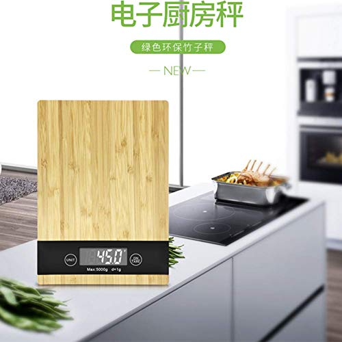 Wood Bamboo Digital Kitchen Scale Multi-Function LCD Display,Unit Conversion,Tare Function Kitchen Scale by Scale 1:1 (Image #2)