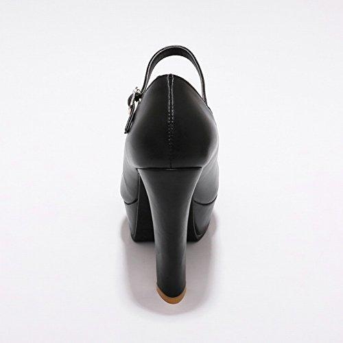 Pied De Charme Femmes Chic Bride De Cheville Plate-forme À Talons Hauts Pompes Chaussures Noir