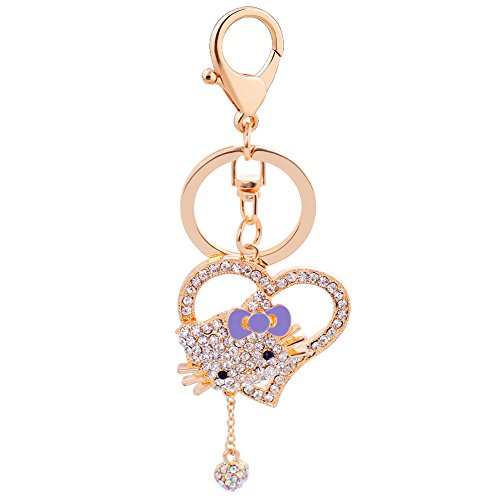 (EASYA Women Keychain,Animal key Chain Cute Cat Swarovski Crystal Charm Pendant KeyChain with Hollow Love Pendant,Purple)