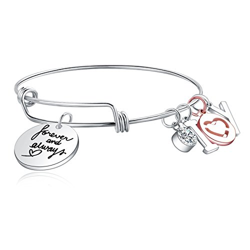 LIUANAN Charm Bracelet Expandable Wire Bangle]()