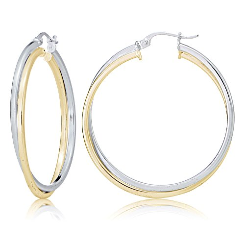 Sterling Silver Twisted Tube (Sterling Silver Two-Tone Square-Tube Double Twisted 47mm Round Hoop Earrings)