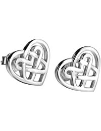 Sterling Silver Celtic Triquetra Knot Stud Earrings (Heart)