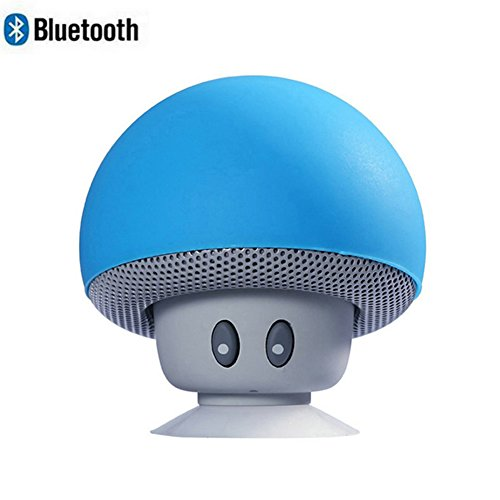 Leacoco Mini Wireless Portable Bluetooth Speakers with Mic and Sucker Portable Small Stereo for iPhone and Android System Equipment Etc. (Blue)