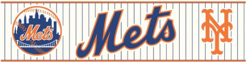 York Wallcoverings ZB3399BD New York Mets Prepasted Border, Nautical Navy/Summer Orange (New York Border)