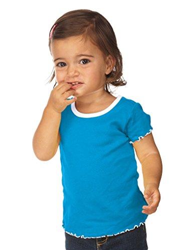 (Kavio! Infants Contrast Lettuce Edge Short Sleeve Island Blue/White 12M )