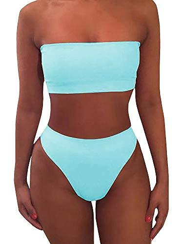 Misassy Womens Sexy High Waisted Bikini 2 Piece Bandeau Swimsuit Top Cheeky Bottoms Set Sky Blue