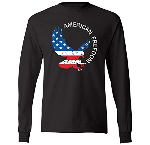 American Freedom Bald Eagle USA Flag Distressed Mens Long Sleeve T-Shirt (Medium Black) (Freedom Eagle T-shirt)