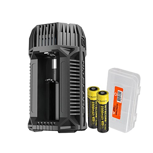 Price comparison product image NITECORE V2 6A 2-Channel In-Car Speedy Battery Charger with 12V Lighter Adapter and USB Ports with 2x 2300mAh 18650 Rechargeable Batteries and Lumen Tactical Battery Organizer