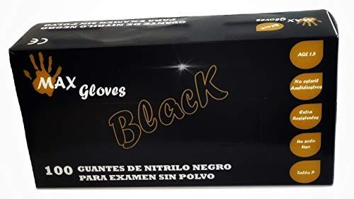 Guantes de nitrilo médicos desechables negros, Caja 100 unidades. T. S/M/L 4